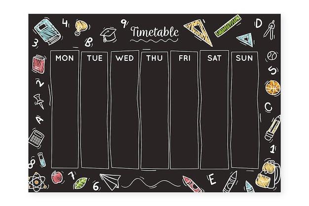 Рисованной обратно в школьное расписание на доске
