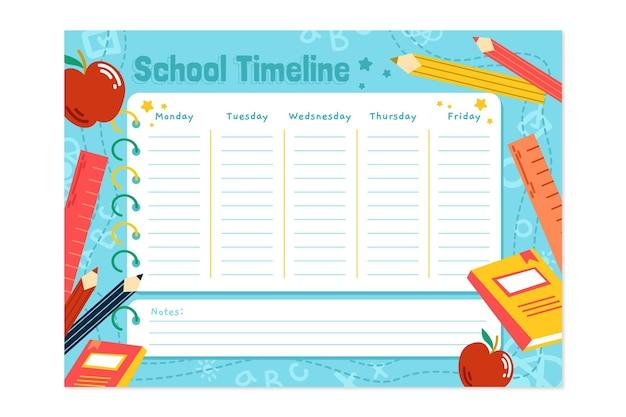 학교 시간표 템플릿으로 손으로 그린