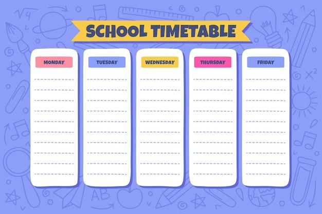 Ручной обращается обратно в шаблон школьного расписания