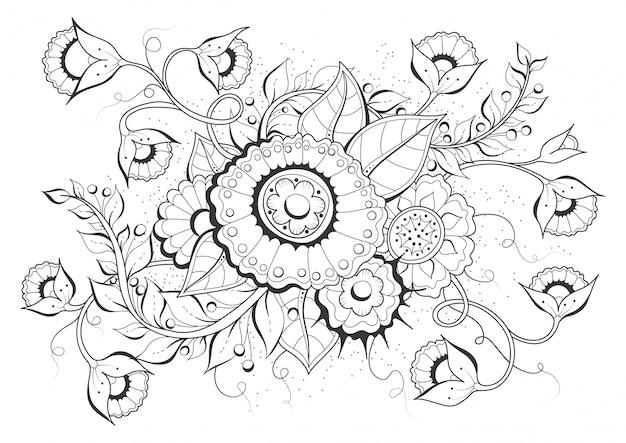 手描きの背景。大人とそれ以上の子供向けの塗り絵、ページ。黒と白の抽象的な花柄。ベクトルイラスト。瞑想のためのデザイン。