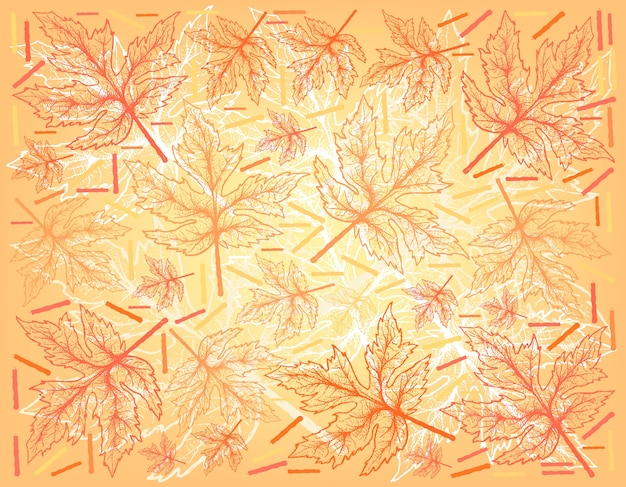 Hand drawn background of autumn maple leaves
