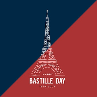 Hand drawn background bastille day