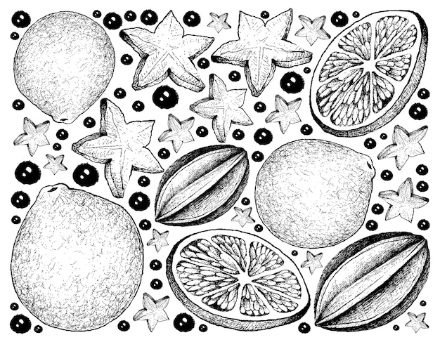 Hand drawn background of carambola and lime fruits