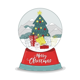 Hand drawn background christmas snowball globe