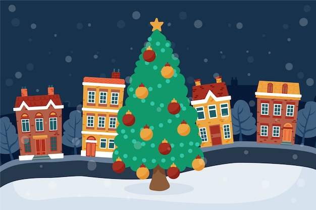 Hand drawn background christmas town