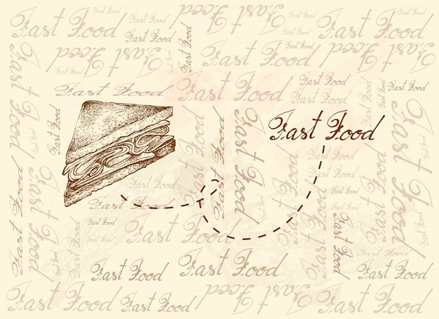 Hand drawn background of club sandwich or clubhouse sandwich