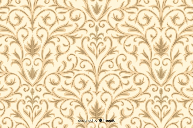 Hand drawn background in damask style