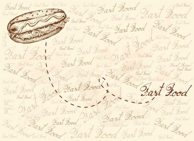 Hand drawn background of delicious hot dog