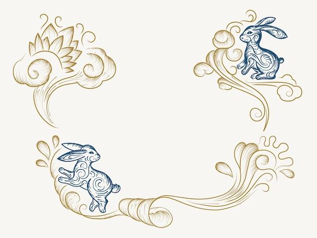 波状の休日のウサギやウサギの中国の中秋節のスケッチの手描きの背景