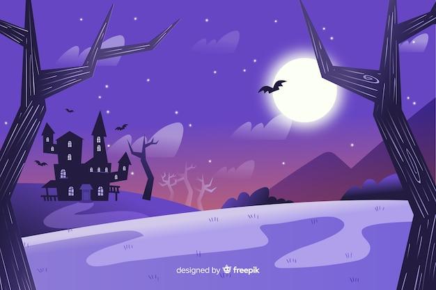ハロウィーンのための手描きの背景