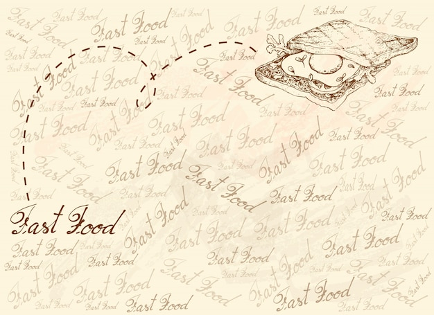 Hand drawn background of freshly toasted sandwich
