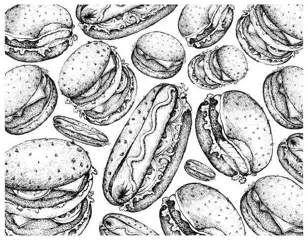 Hand drawn background of hamburgers and hot dogs