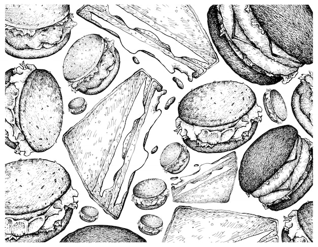 Hand drawn background of hamburgers and sandwiches