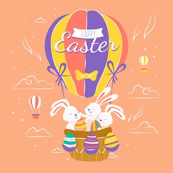 Hand drawn background happy easter day