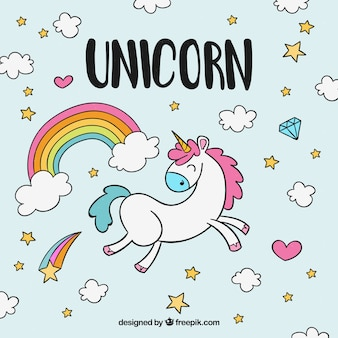 Hand drawn background of happy unicorn with clouds and rainbow