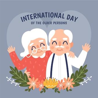 노인의 손으로 그린 배경 국제 날