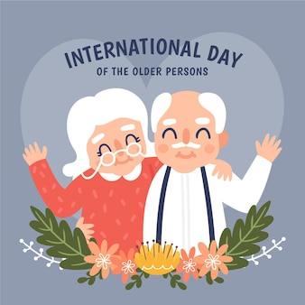 Hand drawn background international day of the older persons