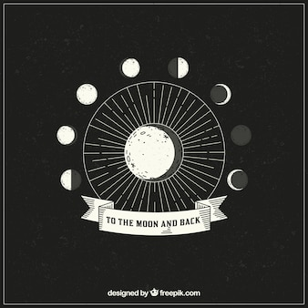 Hand drawn background of lunar phases