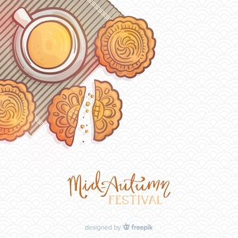 Hand drawn background for mid autumn festival