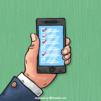 Hand-drawn background of mobile phone with checklist