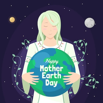 Hand drawn background mother earth day
