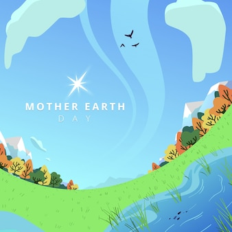 Hand drawn background of mother earth day