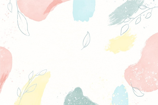 Hand drawn background of natural watercolour spots with leaves