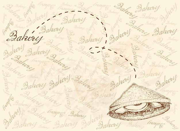 Рисованной фон клубный сэндвич или клубный сэндвич