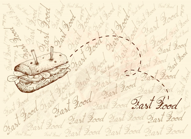 Рука нарисованные фон вкусный бутерброд багет