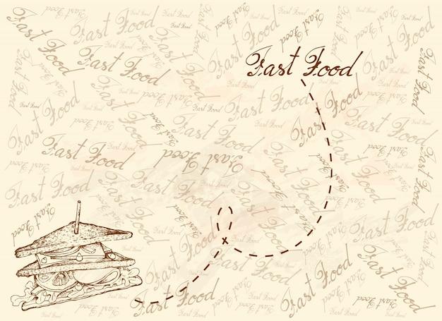 グリルクラブサンドイッチの手描きの背景