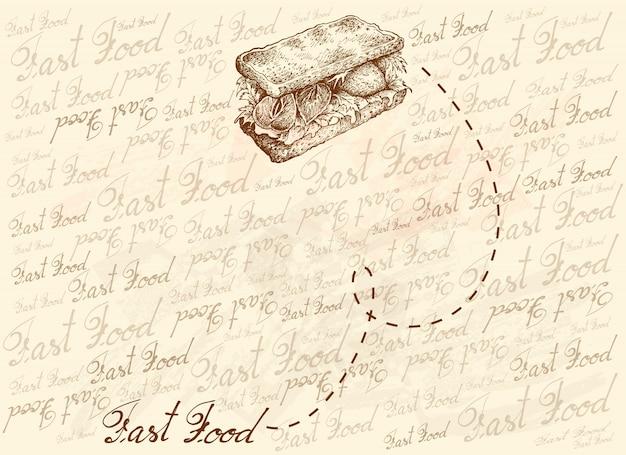 自家製ベジタリアンサンドイッチの手描きの背景