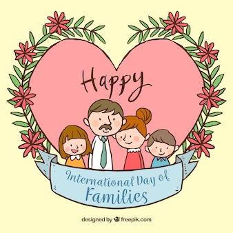 국제 가족의 날을위한 손으로 그린 배경