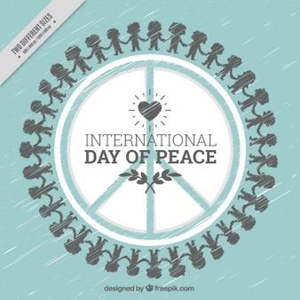 Ручной обращается фон международный день мира с символом