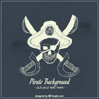 칼과 모자와 해적 두개골의 손으로 그린 배경