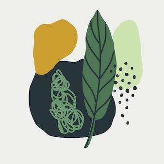 녹색 색상의 스칸디나비아 스타일의 단순한 모양과 열대 잎의 손으로 그린 배경. 포스터, 엽서용 소셜 네트워크 디자인을 위한 개념입니다. 현대 유행 벡터 일러스트 레이 션
