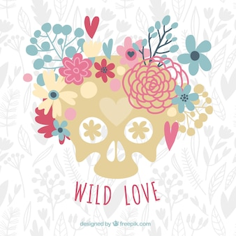 Hand-drawn background of skull with decorative flowers