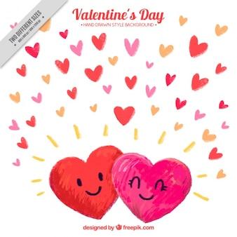 バレンタインデーのための笑顔心の手描きの背景