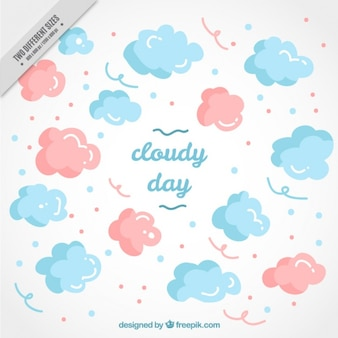 Hand-drawn background of pink and blue clouds