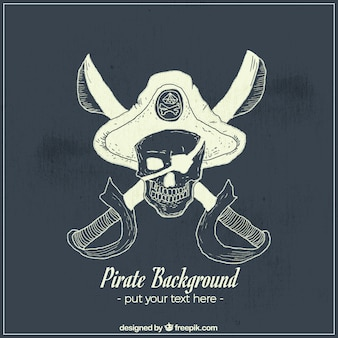 Hand-drawn background of pirate skull with swords and hat