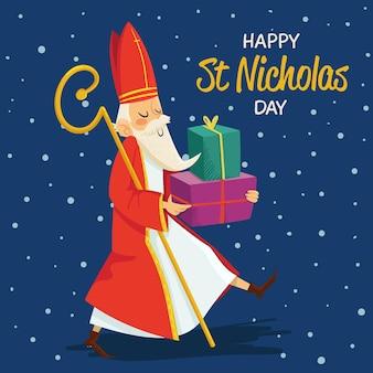 手描きの背景聖ニコラスの日