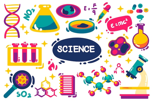 Hand drawn background of science with elements