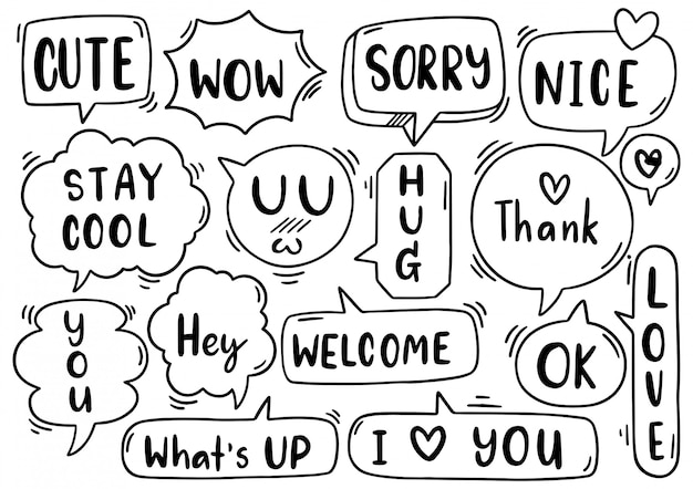 Hand drawn background set of cute speech bubble eith text in doodle style on white background isolated abstract