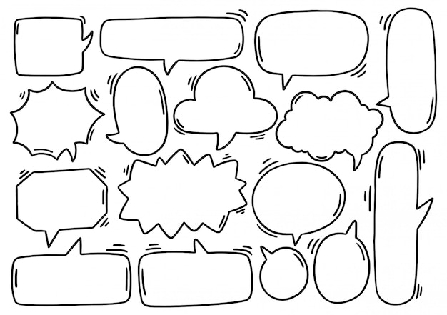 Hand drawn background set of cute speech bubble eith text in doodle style