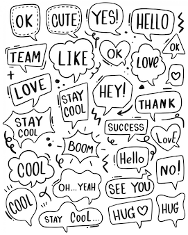 Hand drawn background set of cute speech bubble text in doodle style