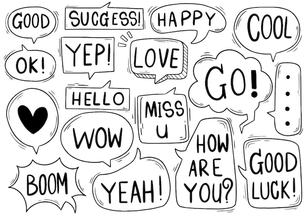 Hand drawn background set of cute speech bubble with text in doodle style