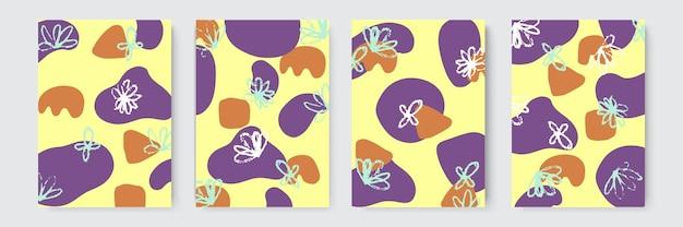 손으로 그린된 배경입니다. 추상적인 트렌디한 손으로 그린 모양과 디자인 요소 집합입니다. 추상 콜라주 배경 손으로 그린 화려한. 손 그리기 요소로 채색된 아름다운 예술 그림