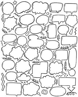 Набор рисованной фон милый пузырь речи в стиле каракули