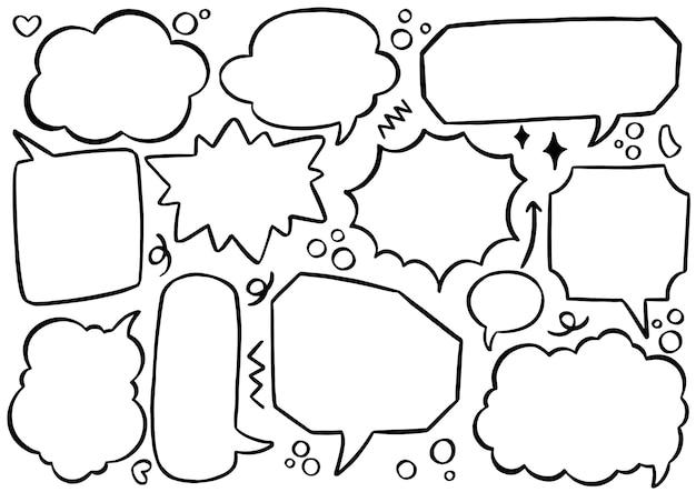 Ручной обращается фон набор милый речи пузырь в стиле каракули