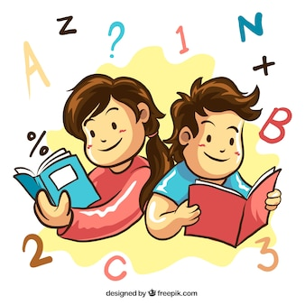 Hand-drawn background of smiling students reading