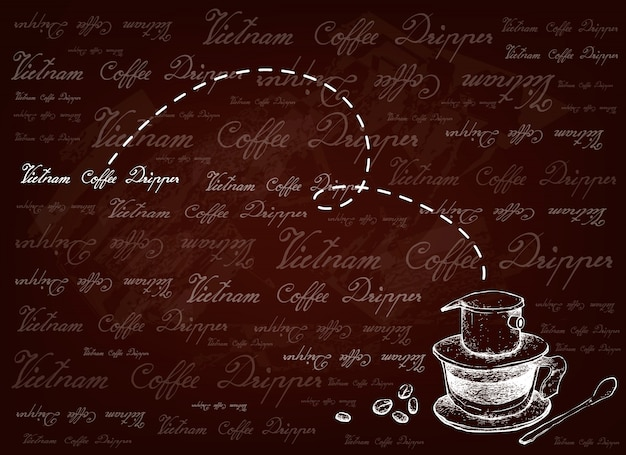 Hand drawn background of vietnam coffee dripper